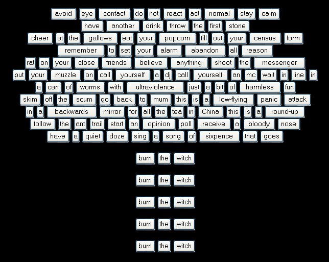 "An image posted on Radiohead's website in 2004 revealing part of the lyrics for ""Burn the Witch."""