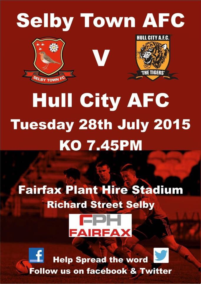 It's been a solid start to their pre-season having beaten Sheffield United in their last game! On Tuesday night the Robins will take on Hull City at home, and the people of Selby are being urged to attend as the Robins continue their preparation for the new season!    Tickets are only £5 and concessions £3 kick off is at 7:45pm and gates will be open from 7pm so arrive early to get a seat! Drinks and refreshments can be bought during the game.   Come on the Robins!