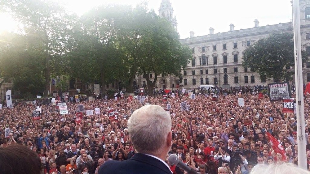 Corbyn spoke from an open top bus last night with veteran Mp Dennis Skinner who voted to leave the EU. This rally was arranged in less that 18 hours.