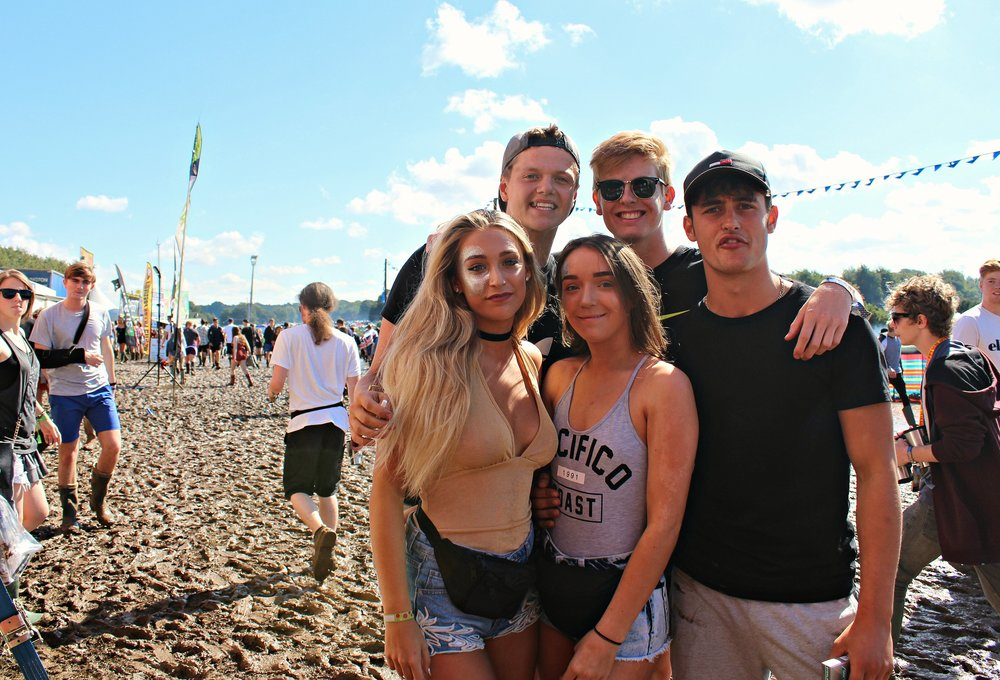 left, Samantha, Jack, Louise, Harry, Todd told us they were happy the sun was shining after torrential rain on the Thursday evening, they were most looking forward to see Mistajam, The King Blues, Kano and Good Charlotte on Friday ( Image San Brown)