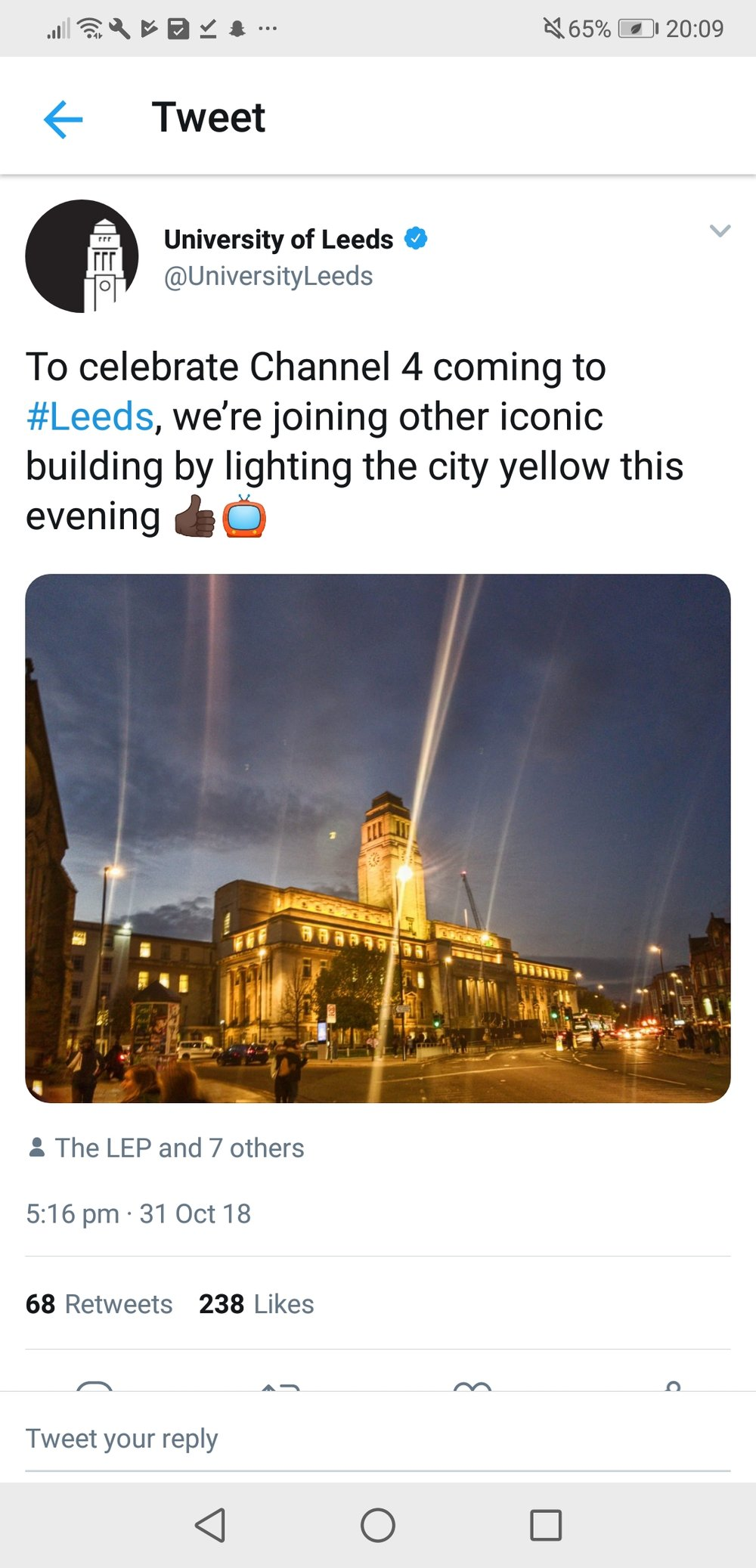 The university of Leeds lit up this evening