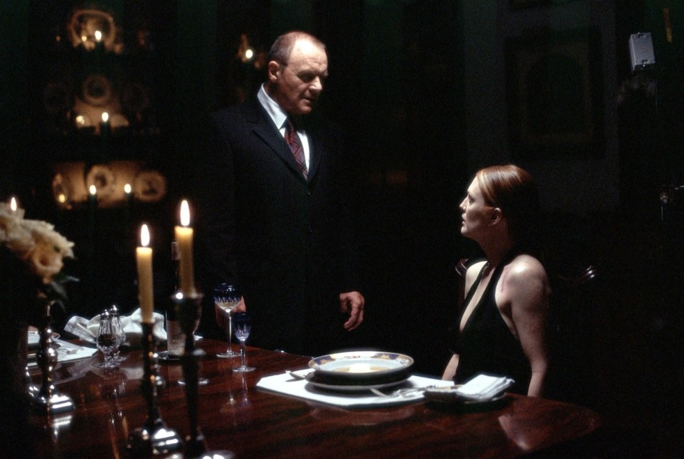 Photo: Anthony Hopkins as Hannibal Lecter and Julianne Moore as FBI Agent Clarice Starling in Hannibal.