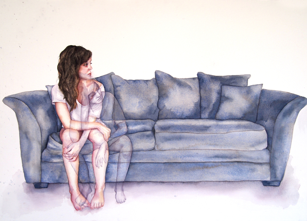 "Lonesome,  30x22"", Watercolor on Paper, 2014"