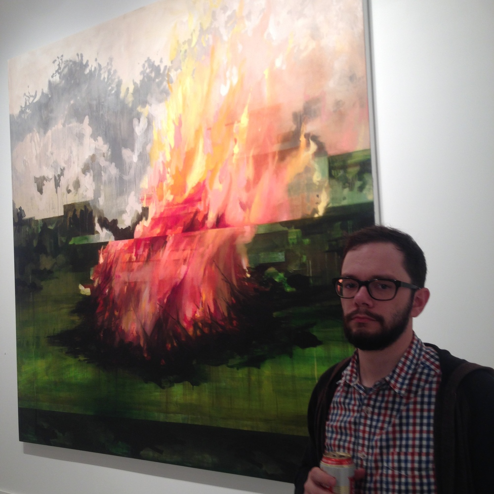 Despite the look on his face Jacobenjoyed the exhibition at Gray Duck Gallerythis piece was my favorite in the exhibition byElizabeth McDonald