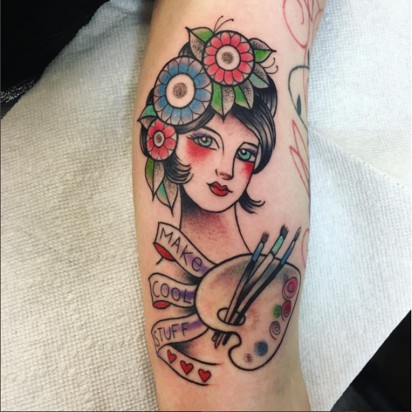 In April I got this wonderful piece tattooed on my arm by Karina Figueroa. Check out her work:  http://lakarina.com/