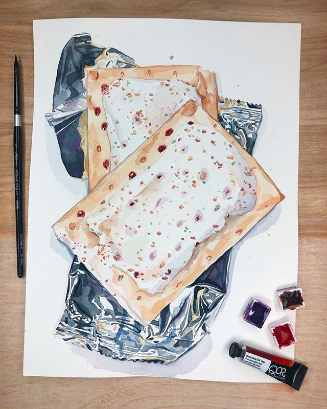 I had never toasted a poptart until a couple years ago 🤦🏻‍♀️ #art #painting #watercolor #qorwatercolors #silverblackvelvetbrush #poptarts #illustration #watercolorillustrations