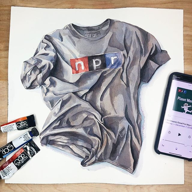 When finding shirts to paint I'm looking for a couple things: A recognizable design and something that carries some kind of identity or personality with it.  Whether it's your thing or not, public radio listeners are proud to show their support. I love the idea that this shirt really does represent a person and a tiny culture.  #art #painting #qorwatercolors #watercolor #npr #publicradio #illustration #austin #austinart #austinartist