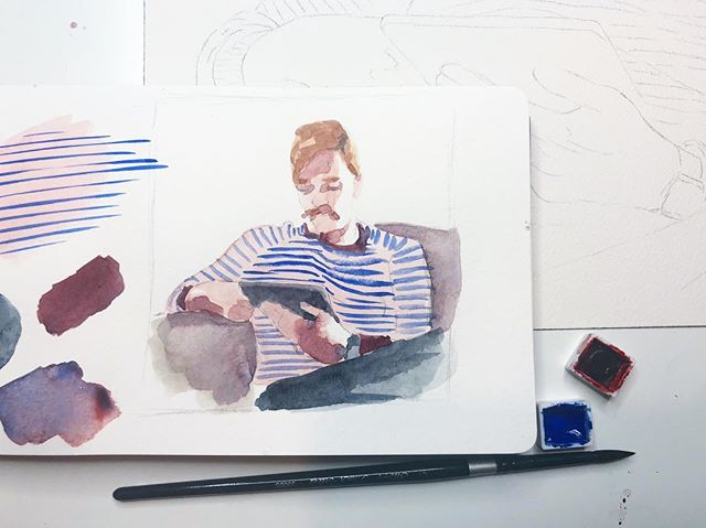 Color study for my next painting. The sweater pattern in the photo was too complex so I simplified it to stripes and changed the colors so I could use @qorwatercolors colbalt blue because 🤤
