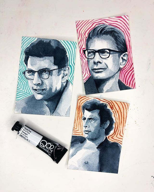 My artist trading cards for the @goldenpaints swap - I hope they're ready for this erotic energy! Doing portraits this tiny was definitely a challenge and I'm pleasantly surprised that I pulled it off 😅  #qorwatercolors #watercolor #jeffgoldblum