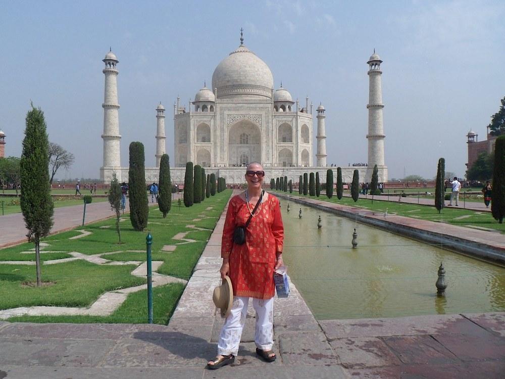 At the Taj Mahal with a spiritual head shave called mundun