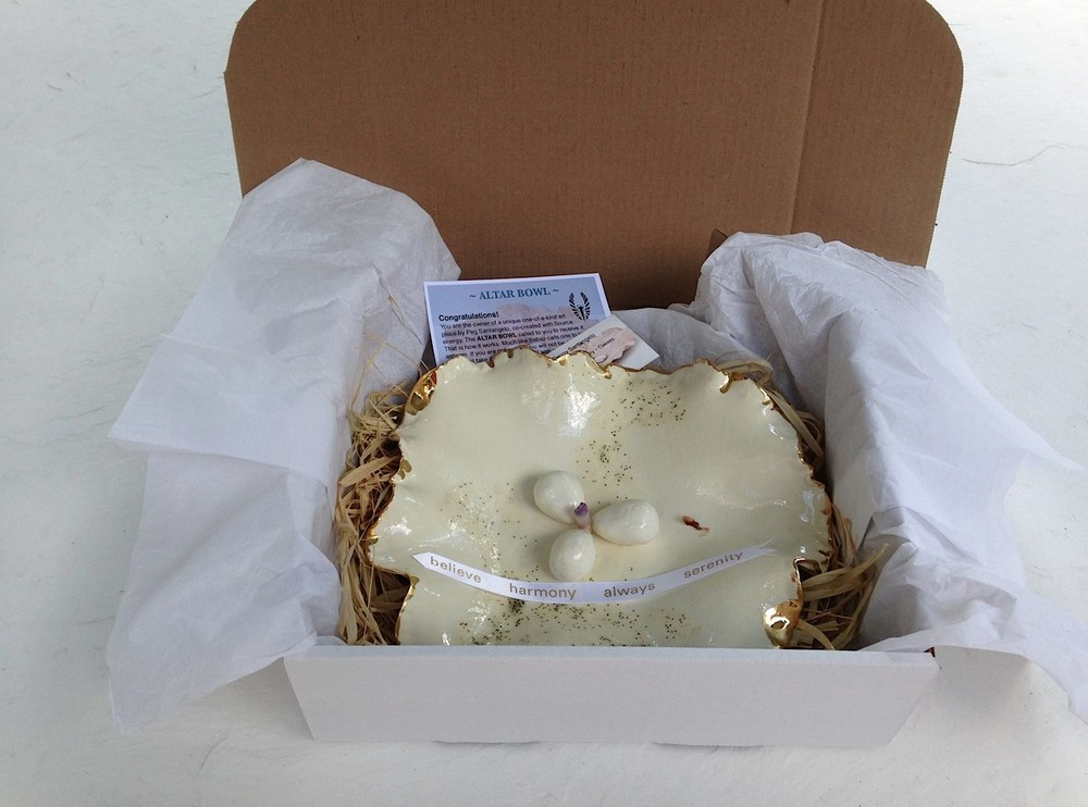 Fairy Altar Bowl (white with glitter glaze) packaged and ready to go… Notice the piece of blessed potpourri from Amaji (the hugging saint), the inclusion of the white ribbon, and the business and instruction cards.