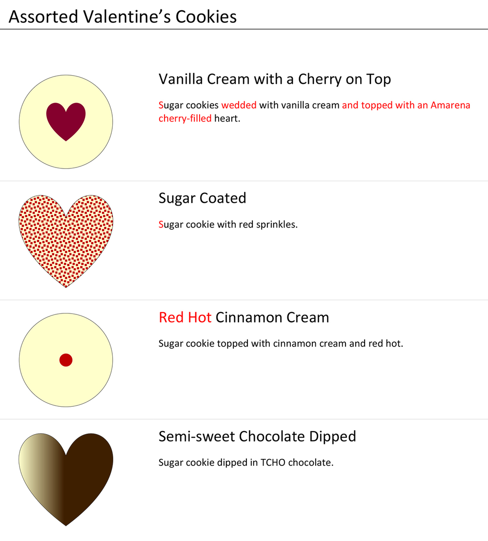 The Valentine's Cookie Assortment. (Click image to enlarge)