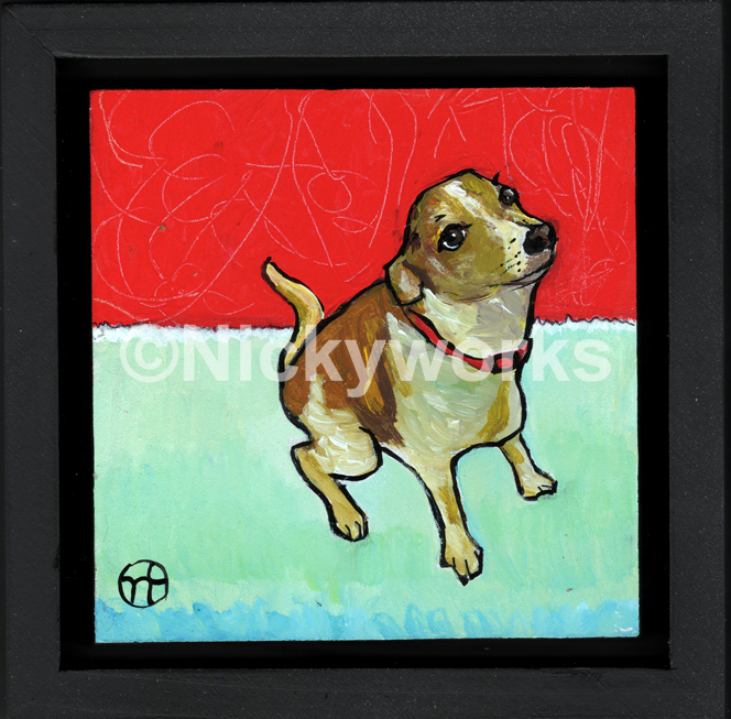 """acrylic on wood, 6.75"""" x 6.75"""" (including frame),  frame is 1.5 inches deep and made locally in the metro area  sold"""