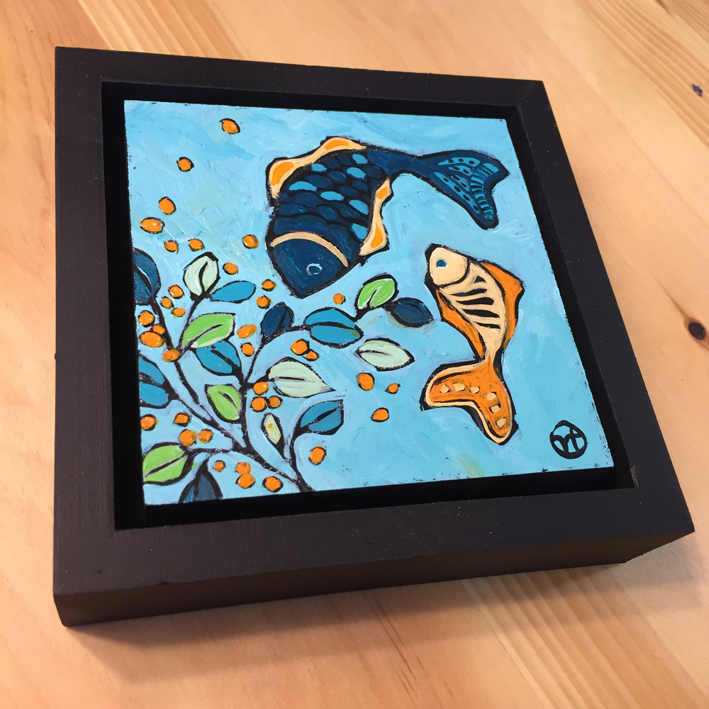 """acrylic on wood, 6.75"""" x 6.75"""" (including frame),  frame is 1.5 inches deep and made locally in the metro area  available"""