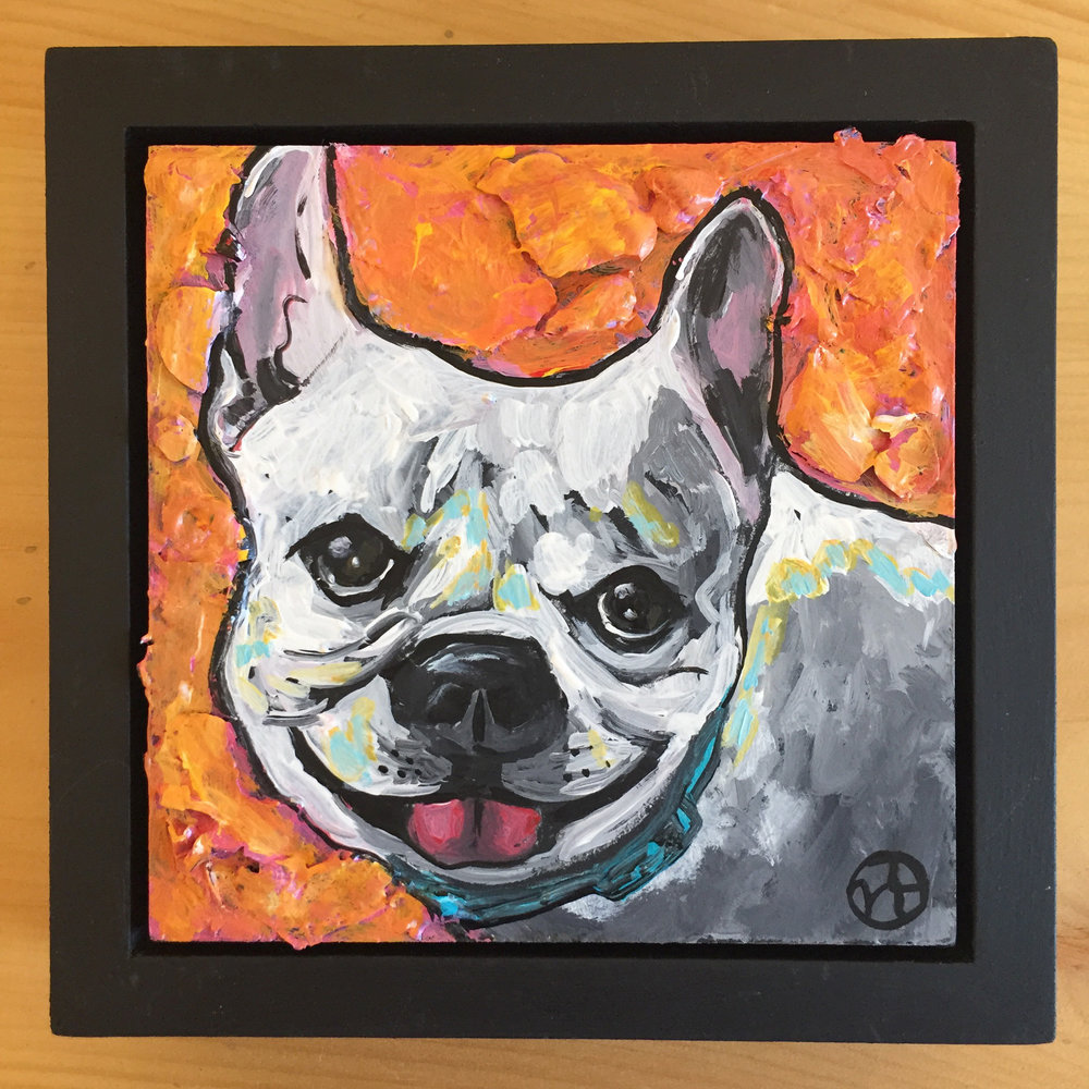 acrylic on wood, 5 x 5 inches, with frame is 6.5 x 6.5 inches   https://www.nickyworks.com/contact/