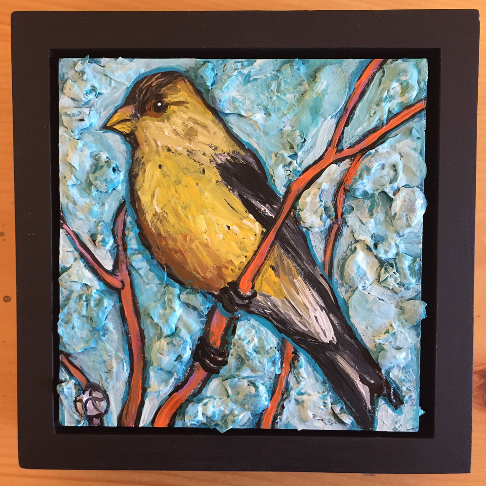 """acrylic on wood, 6.75"""" x 6.75"""" (including frame),  frame is 1.5 inches deep and made locally in the metro area  $45"""