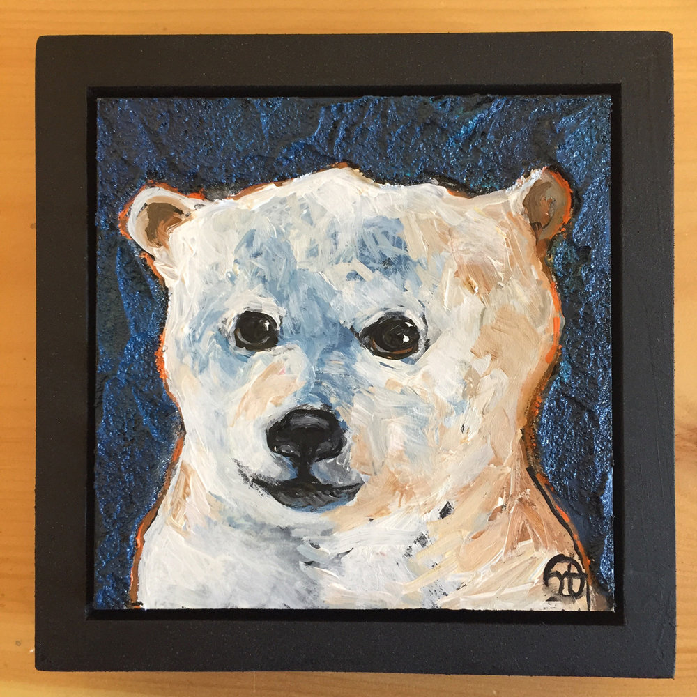 "acrylic on wood, 6.75"" x 6.75"" (including frame),  frame is 1.5 inches deep and made locally in the metro area  $45"