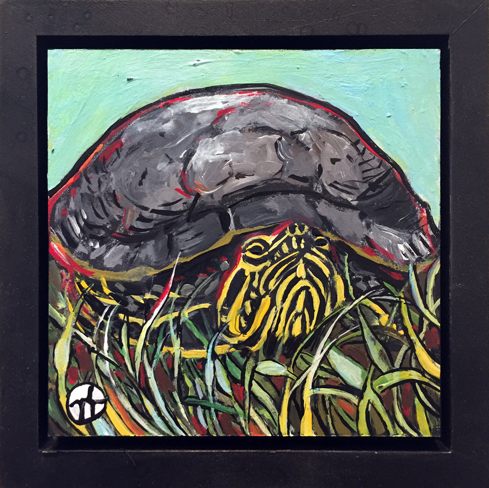 "acrylic on wood, 6.75"" x 6.75"" (including frame),  frame is 1.5 inches deep and made locally in the metro area"