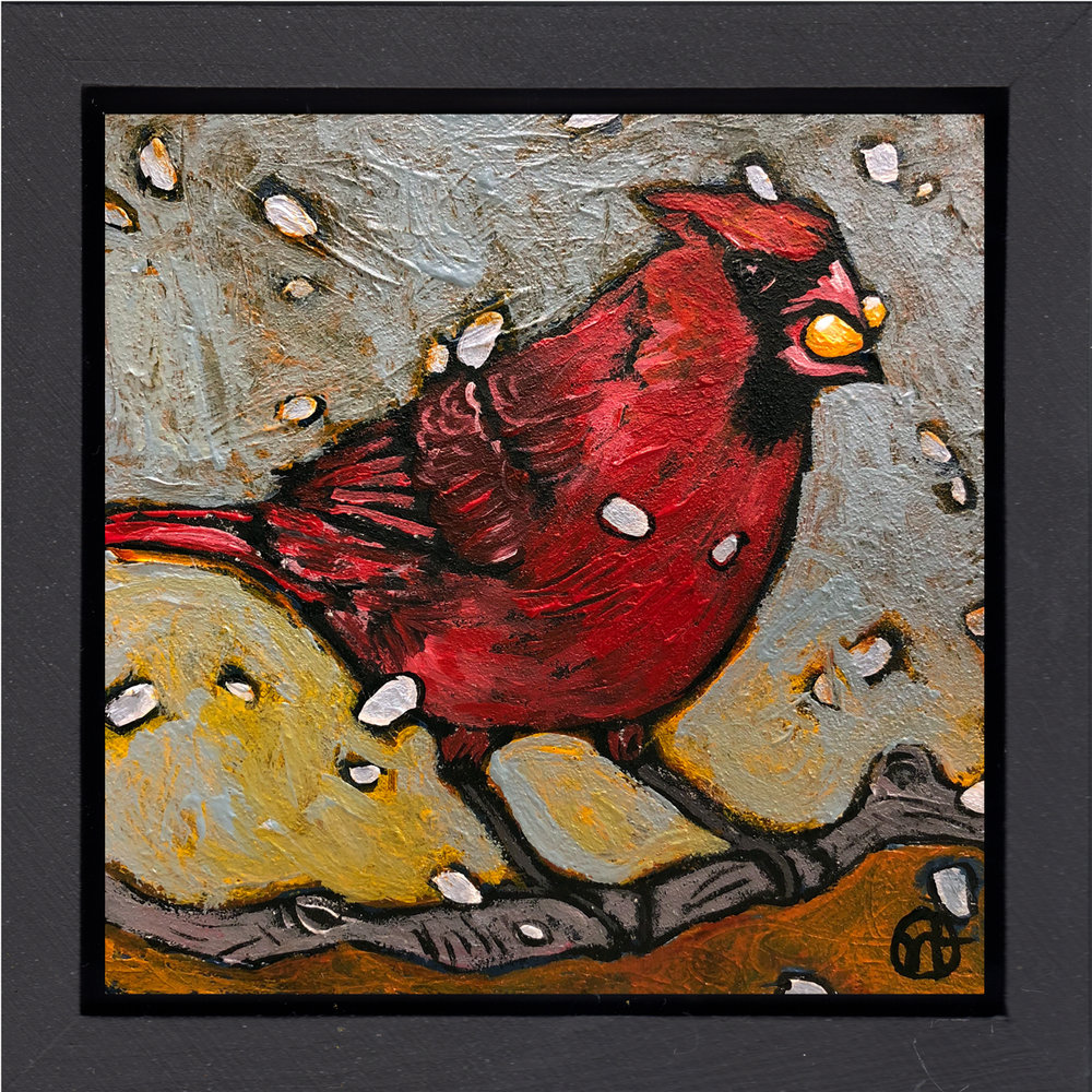 "acrylic on wood, 6.5"" x 6.5"" (including frame),  wood frame is 1.5 inches deep and made locally   sold"