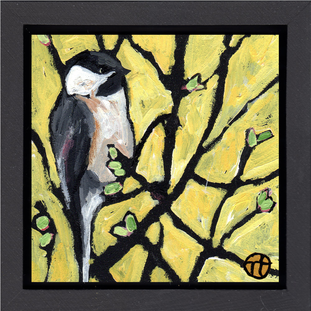 "acrylic on wood, 6.5"" x 6.5"" (including frame),  wood frame is 1.5 inches deep and made locally   available at The Grand Hand Gallery"