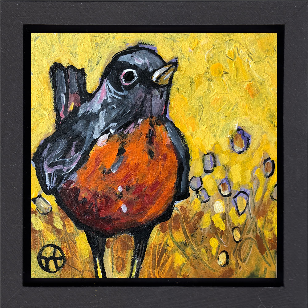 "Sometimes I like to alter a painting. This one is variation of another Robin painting. Basically I was studying different colors and composition.  acrylic on wood, 6.5"" x 6.5"" (including frame),  wood frame is 1.5 inches deep and made locally   sold"
