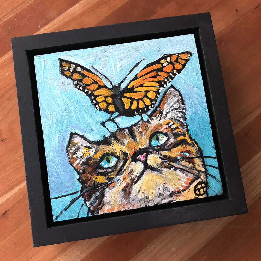 Sold.  Not based on any photos, but just something cute to launch this project.  acrylic on wood  6.5 x 6.5 inches, 1.5 inch deep wood frame