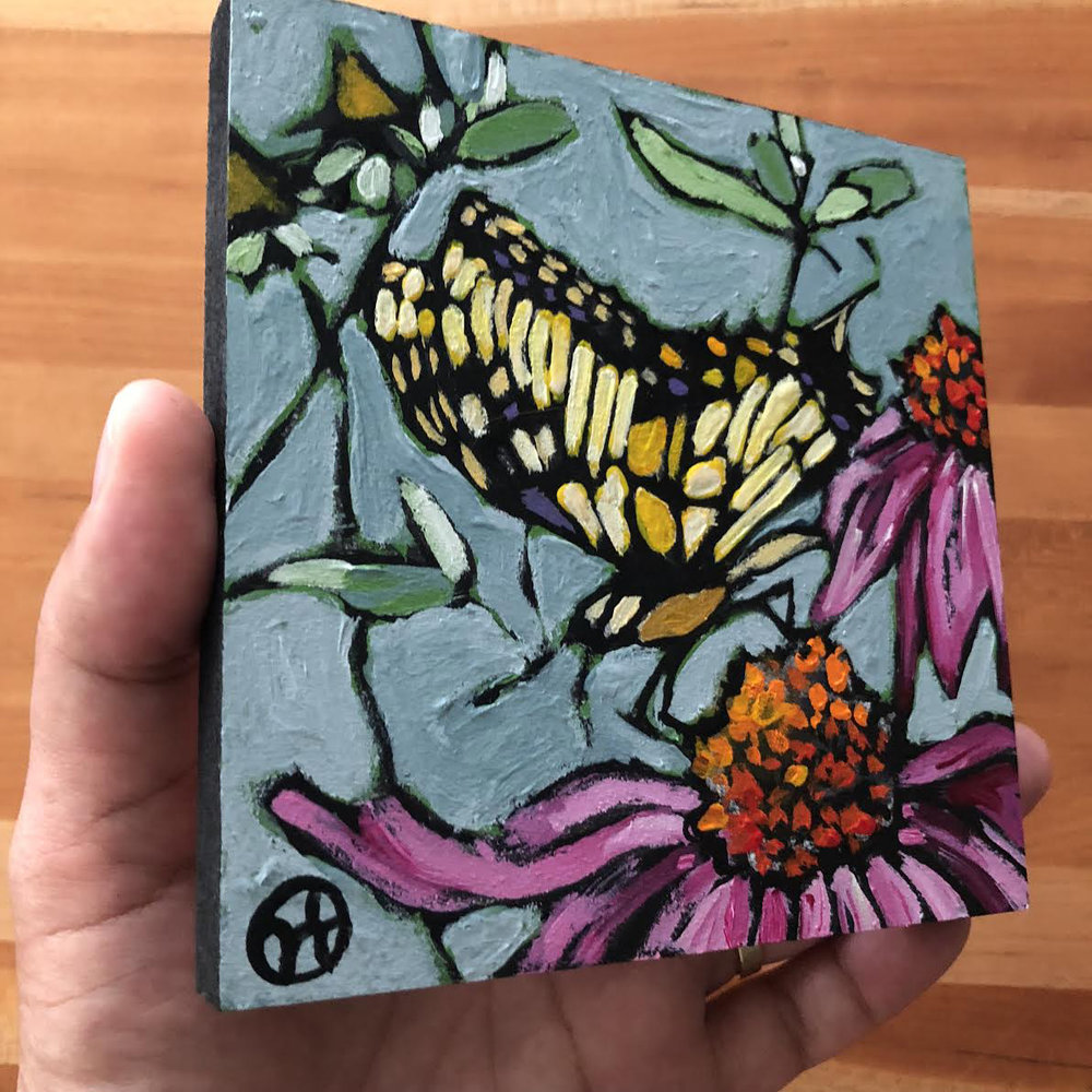 Sold.  Based on Allison S.'s beautiful photo.  acrylic on wood  6.5 x 6.5 inches, 1.5 inch deep wood frame