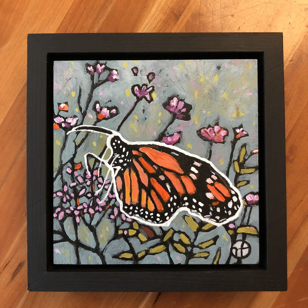 Available for $55  acrylic on wood  6.5 x 6.5 inches, 1.5 inch deep wood frame