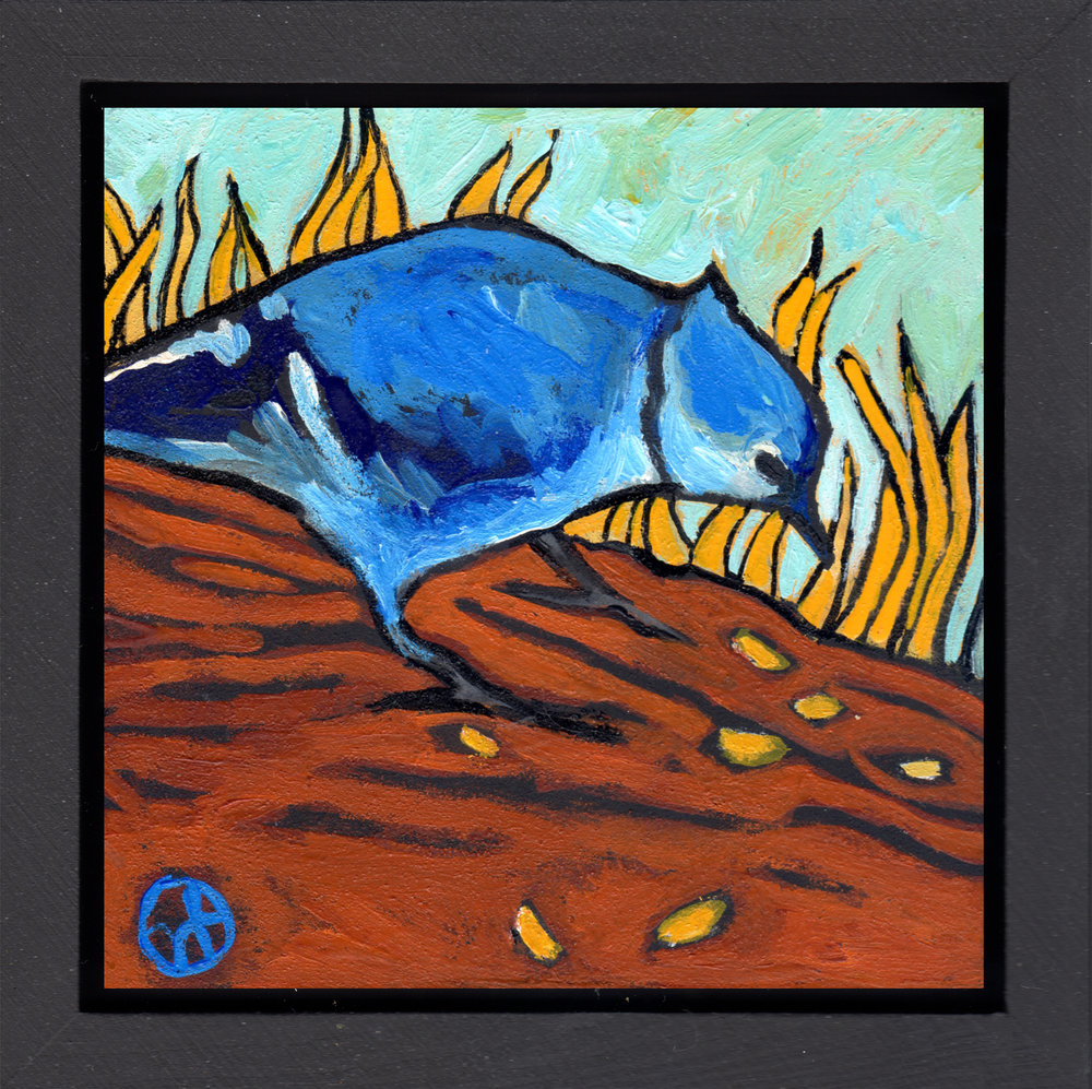 "acrylic on wood, 6.5"" x 6.5"" (including frame),  wood frame is 1.5 inches deep and made locally"