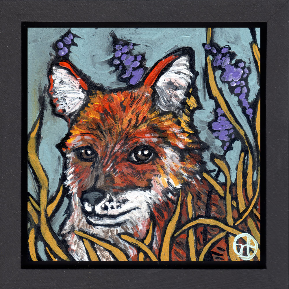 "acrylic on wood, 6.5"" x 6.5"" (including frame),  wood frame is 1.5 inches deep and made locally  Location: Purple Turtle Artisan Gallery, Stockholm, Wisconsin"