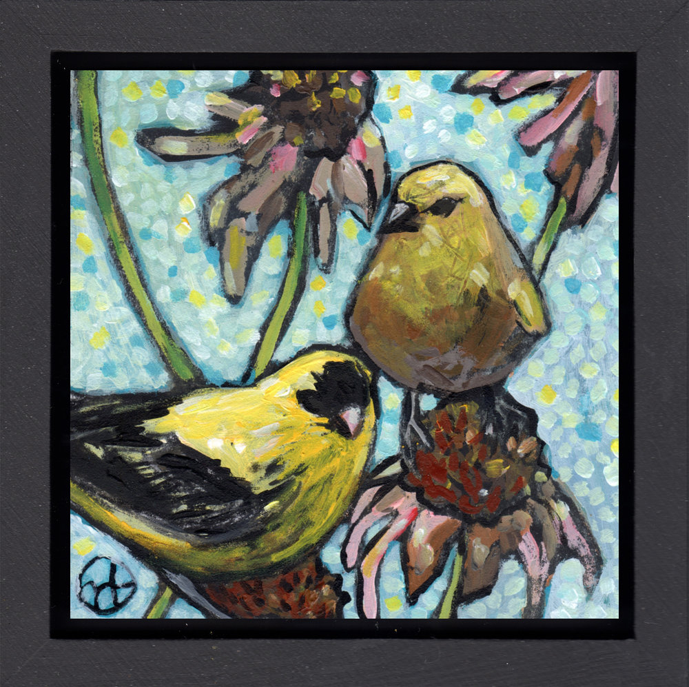 "acrylic on wood, 6.5"" x 6.5"" (including frame),  wood frame is 1.5 inches deep and made locally  Location: Your Art's Desire Gallery, Minnetonka, MN"