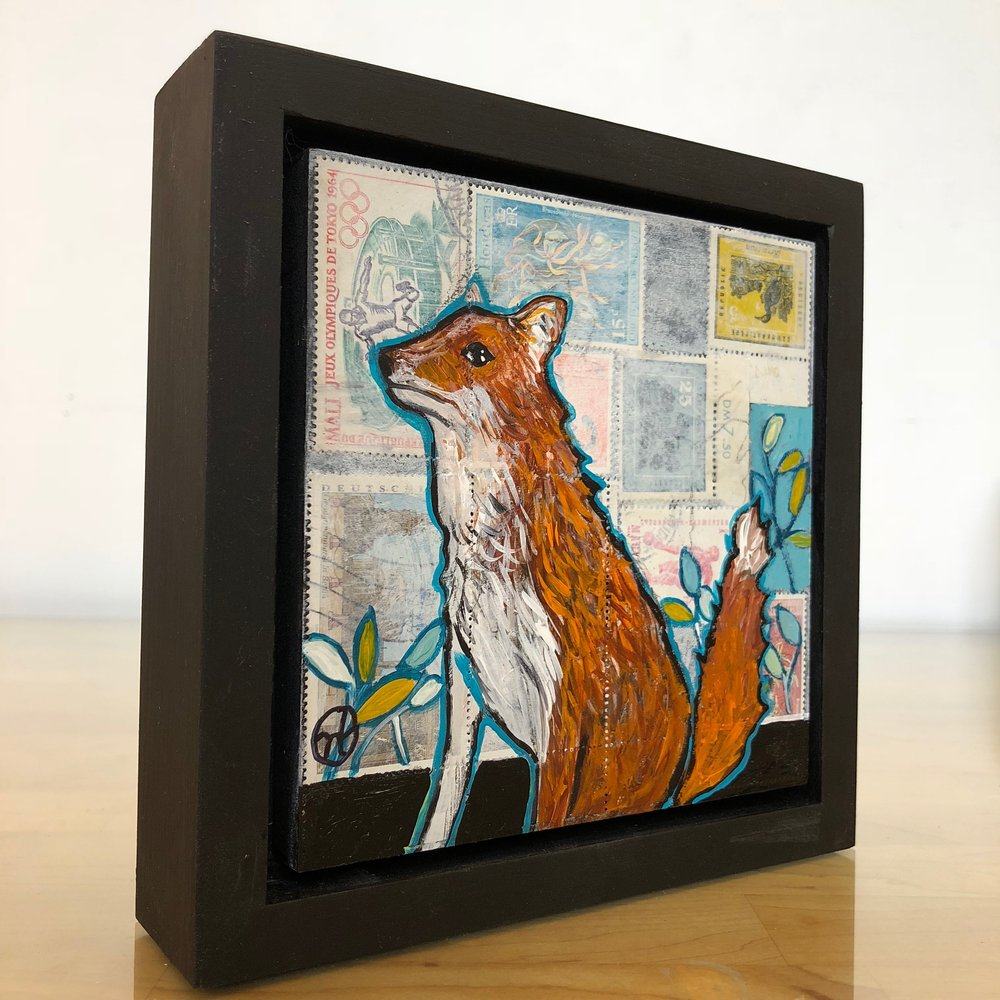 """postal stamps and acrylic on wood, 6.5"""" x 6.5"""" (including frame),  wood frame is 1.5 inches deep and made locally  Available"""