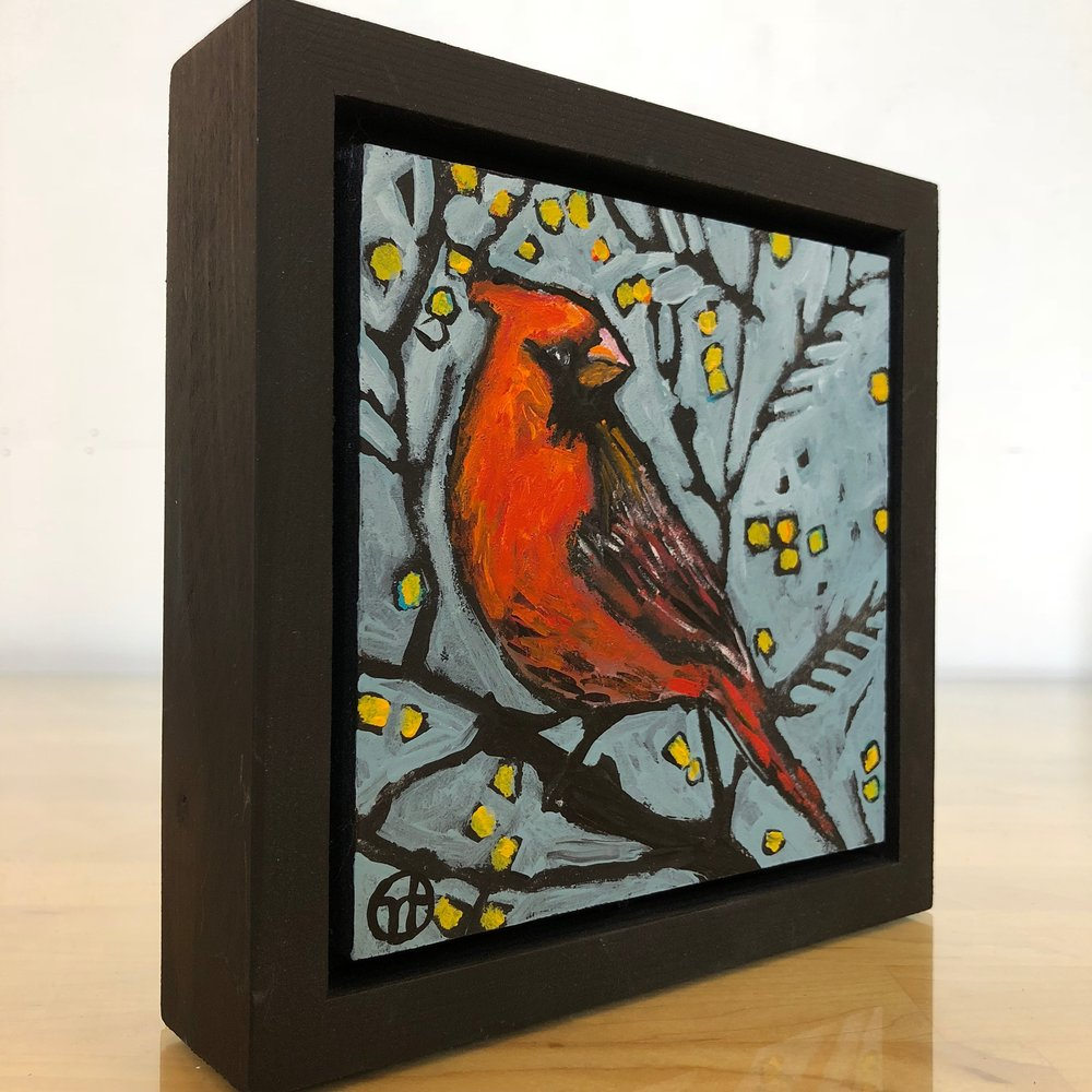 "acrylic on wood, 6.5"" x 6.5"" (including frame),  wood frame is 1.5 inches deep and made locally  Available"