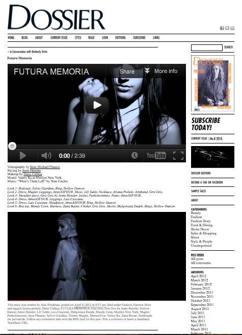 Dossier Magazine Video