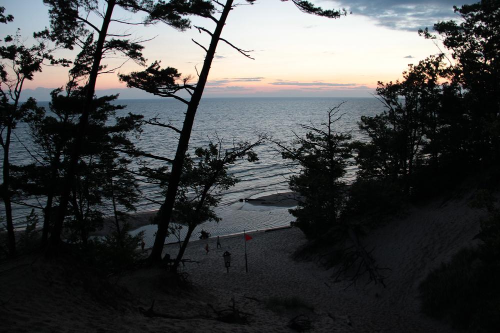 My sisters and I playing at the beach at sunset - Lake Michigan
