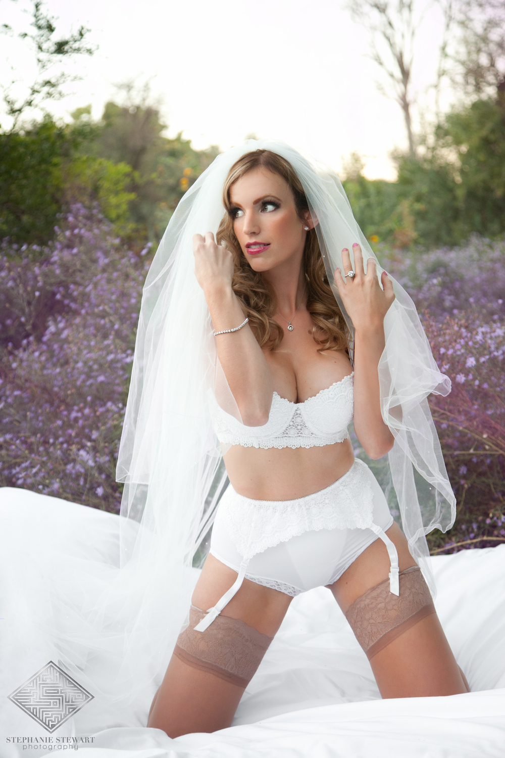 Bridal-Boudoir-High-Waisted-Veil-Wedding-Grooms-Gift-Outdoor-Purple-Flowers-Stephanie-Stewart-Photography-The-Diamond-Supplier-Albuquerque-Stephanie-Stewart-Photography-NBExclusive