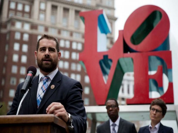 Pennsylvania State Representative Brian Sims at a rally in Love Park, Philadelphia which Sims organized in support of the two victims.