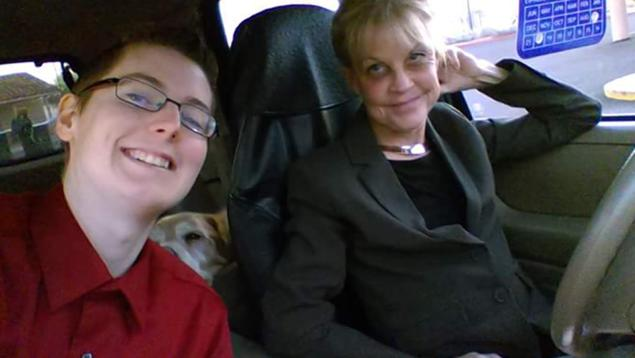 Kayden Clarke, (left) 24, and his friend, Linda Deede, (right) 64.