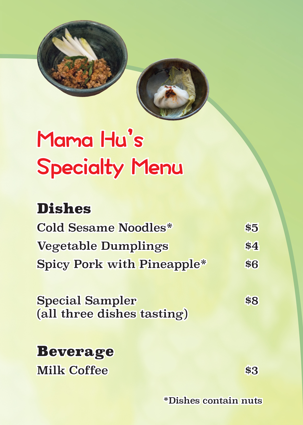 Mama Hu's Specialty menu, 2016  Laminated inkjet print on paper