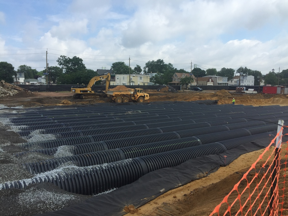 Detention basin going in at Gloucester County Elementary/Middle School - Gloucester City, NJ