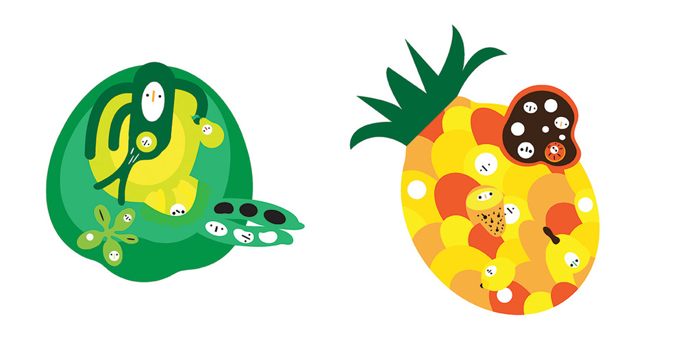 Peas & Pineapples | 8 x 8 Inches (each) | Digital Printing on Watercolor Paper | 2013