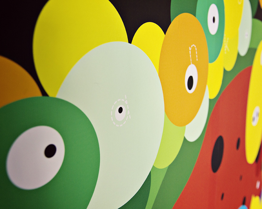 (Details) Franken Food—Interactive Wall Installation | 90 x 192 Inches | Digital Mural Printing | 2014