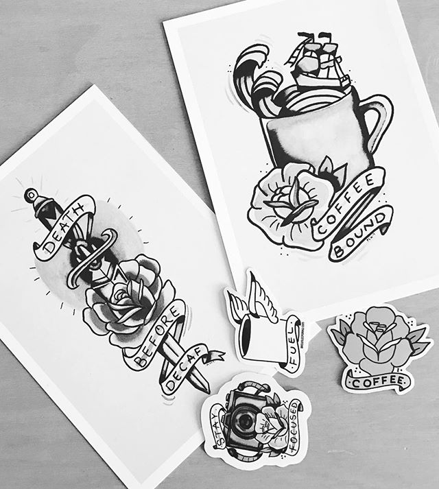 Got some great Brew Sleep Draw treats in the mail from @_xpaulx_ ! Check out his work, especially if you're into coffee and traditional tattoo flash illustration! Thanks Paul!