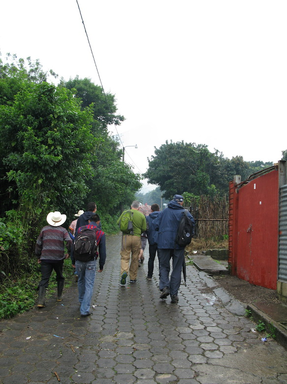 First, the group heads up Agua volcano through the streets of San Miguel Escobar...