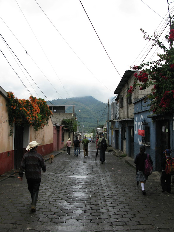 Into the streets of San Miguel Escobar, on the way to Filiberto's house.