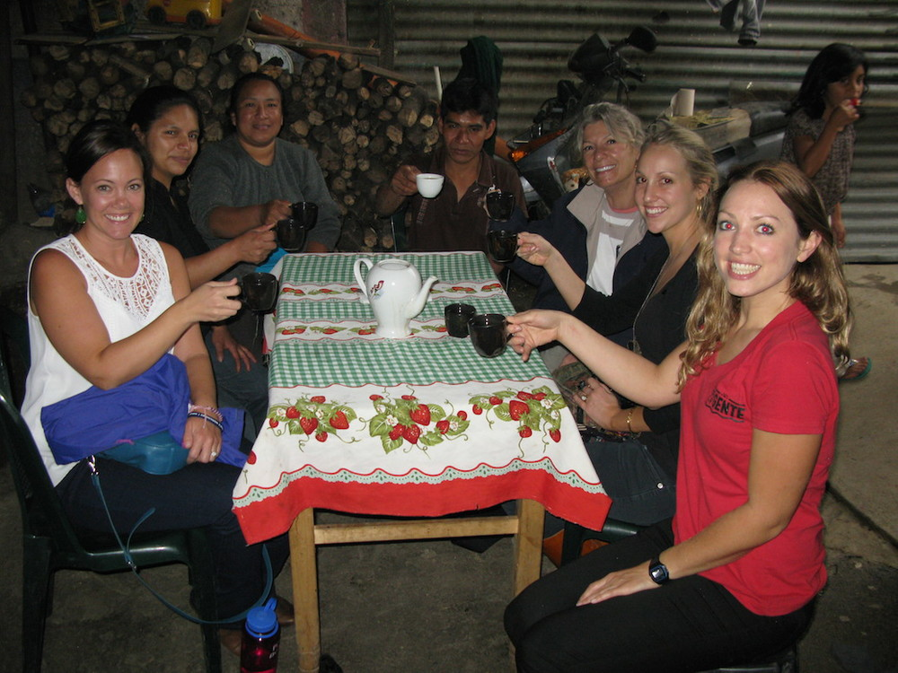 The women from BFB enjoy coffee, freshly roasted and prepared by Armando, Virgilia and Lesbia.