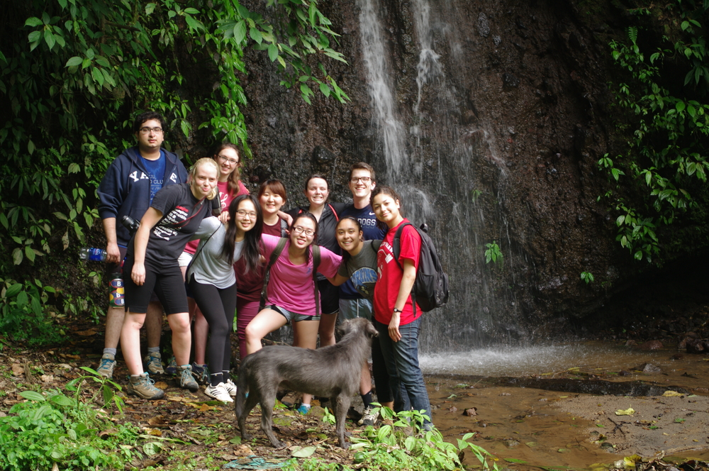 Yale group together during a hike to one of the waterfalls