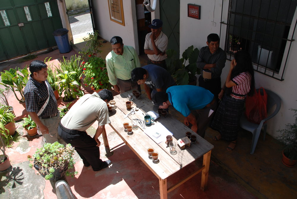 Joining together for coffee cupping at De la Gente's office.