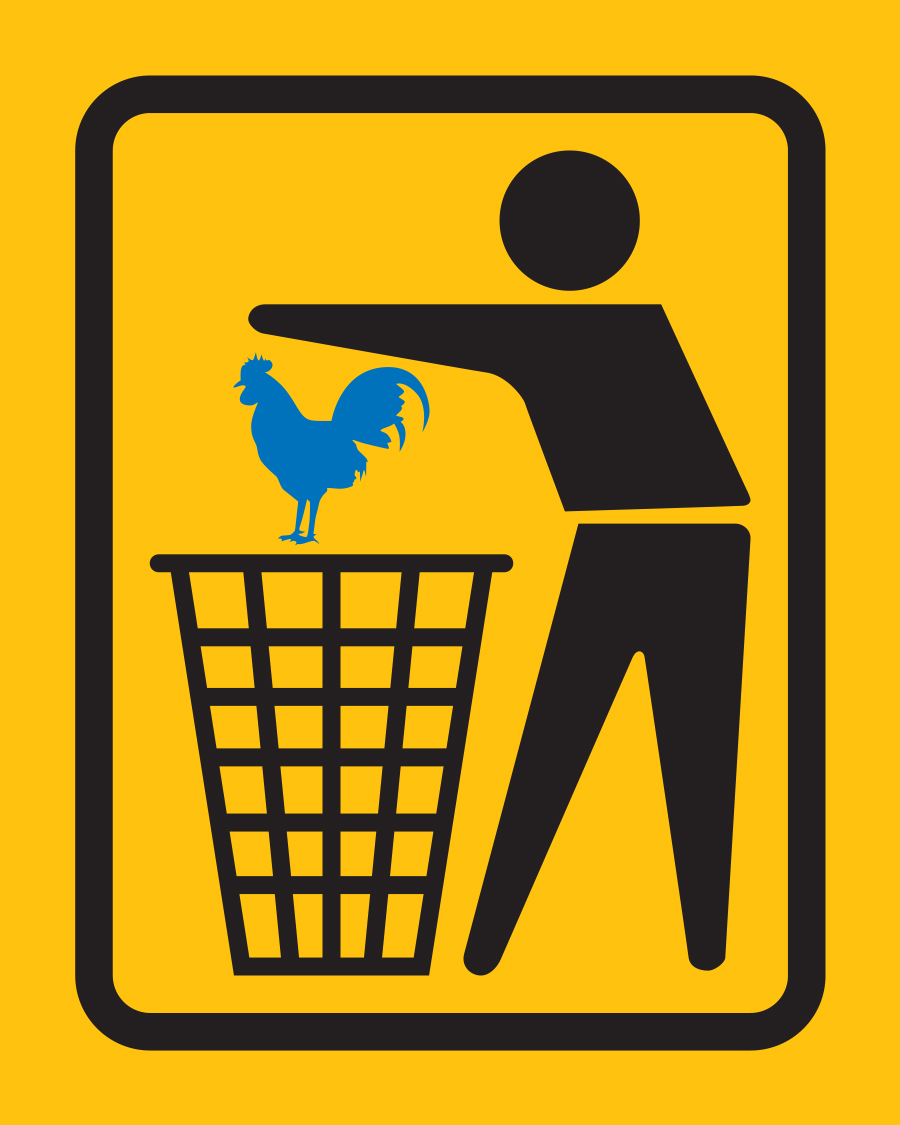 Blue Cock In Garbage