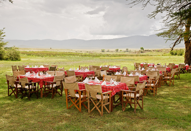 Lunch is served on the floor of the Ngorongoro Crater Floor by the Sopa Lodge